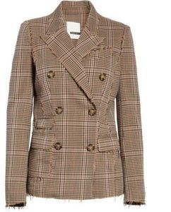 Tracy Reese Double Breasted Brown Plaid Blazer